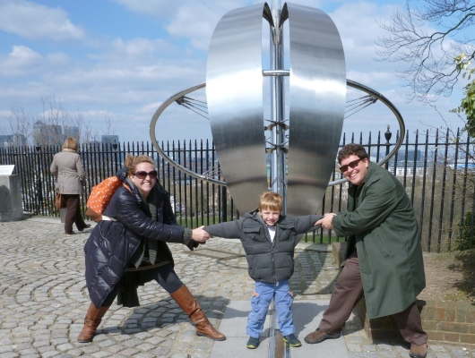 "Here's the three of us at the Prime Meridian on our family vacation to Europe in April 2013. I figured it was time to put a photo up here, and what better photo fits the RMT ""theme"" than one of us where time (zones) all began. Brilliant!"