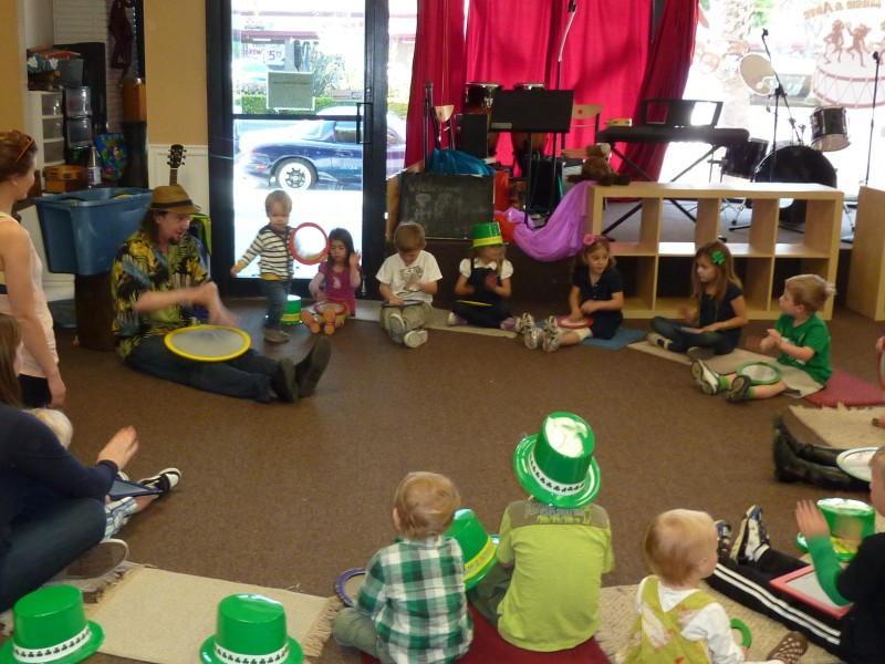 Mr. Geoffrey of Jammin' Music drummed up a great a St. Patrick's-themed music class for Coastal Cuties Family Cooperative Wednesday (2012).