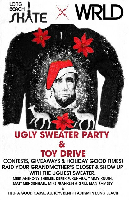 "The flyer for the upcoming ""Ugly Sweater"" Holiday Party at Long Beach Skate, a Toy Drive benefit for Autism In Long Beach. The party is Monday December 17 2p.m. to 5p.m."