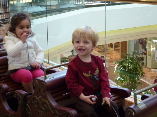 T at two-years-old on perhaps his first ride on the South Coast Plaza Holiday Train! (December 2009)