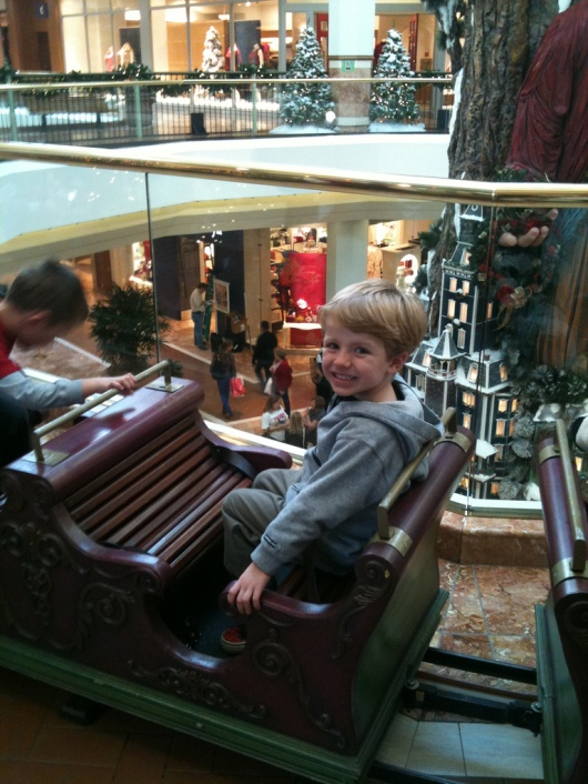 T back at South Coast Plaza for the 2011 holiday season. He's four-years-old in this photo. What a difference a year makes!