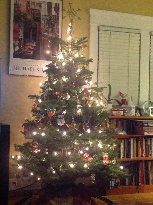 Our Christmas Tree! It's crazy-busy, and not thematic in the least, but we love it!