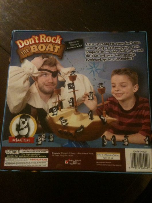 "The back of the box for ""Don't Rock the Boat."" Take note of the pirate's expression."
