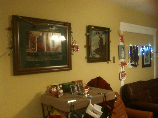 A shot of some of the house decorations. They're not extensive, but they're special to us, each and every one of them.