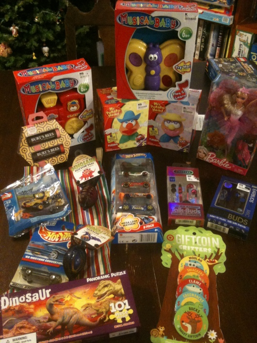 Just a few of the toys that T and I purchased to donate this holiday season.