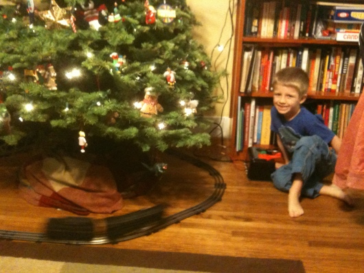 Sorry this one's a bit blurry, but that train (and T) goes fast! T at the switch (and whistle) working his new-to-him Lionel train under our tree.