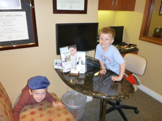 T got to see his buddy L at the dentist Saturday during his visit with Santa.