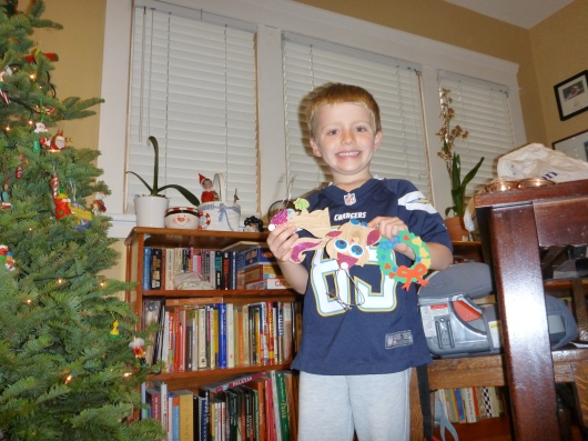 Now those ornaments... grab and hang away, T! Those are some ornaments that T made in season's past.