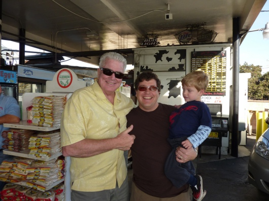 Huell Howser, C, and T at Broguiere's Dairy in December 2010.
