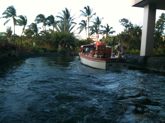 The canal boat tram at the Hilton Waikoloa Village Resort.