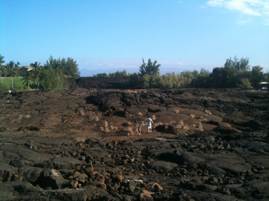 C and T explore the Waikoloa Petroglyph Preserve.