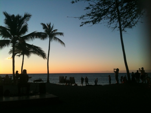 One of my favorite photos to take while on vacation in Hawaii is one of everyone else taking a picture of the sunset. As you can see, the Lava Lava Beach Club is the sunset go-to location for many on the Big Island.