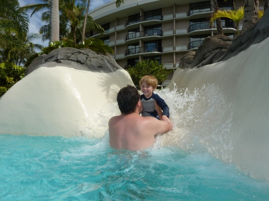 "T and C at the ""butt cleaner"" slide, what we've termed one of two short slides (for obvious reasons from the photo) at the Hilton Waikoloa Village Resort (taken Spring 2011)."
