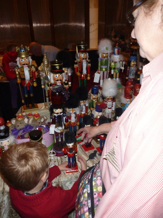 T and Grandma Beep look over the gift shop spot at the San Diego Civic Theatre before an afternoon matinee performance of The Nutcracker.