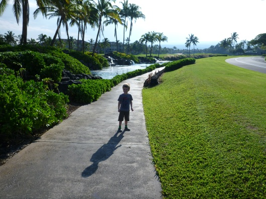 T leads us to the Waikoloa Petroglyph Preserve. We take a well-paved path in a much more modernized part of Waikoloa Beach to get there.