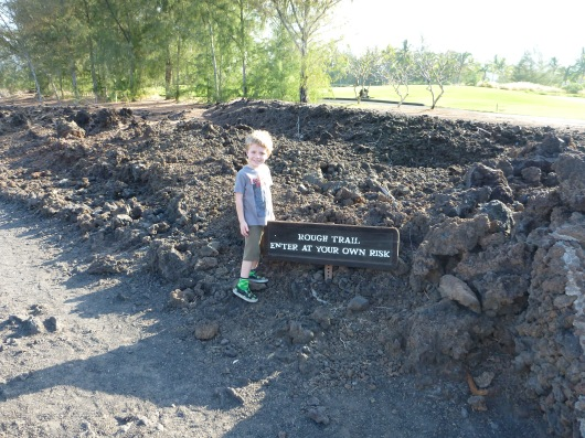 T before setting out into the Waikoloa Petroglyph Preserve. Heed the signs!