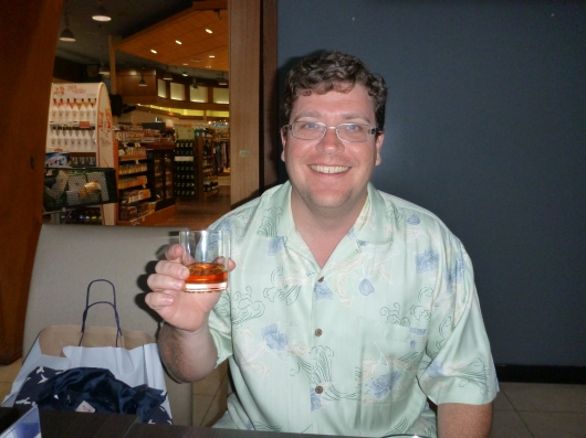 C had an 18-year Scotch at the Aloha Wine Bar. He was ecstatic to get a drink that didn't have fruit juice or rum in it.