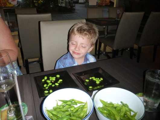 T enjoyed his large bowl of edamame.