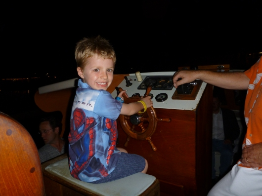 T gives Hilton Waikoloa guests permission to come aboard the canal boat tram one evening during our most recent vacation.