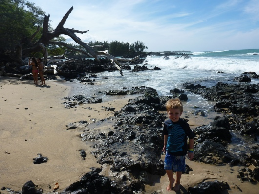 T out at the cove known locally in the Kohala Coast (Big Island, HI) as Mile Marker 69 Beach. It's formally part of the Hapuna State Beach Park Recreation Area.