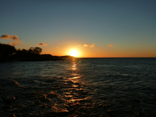 The sunset view from the Lava Lava Beach Club restaurant in Waikoloa, HI.