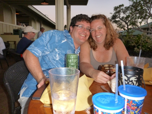 T took this photo of C and me at the Lava Lava Beach Club. Love it!