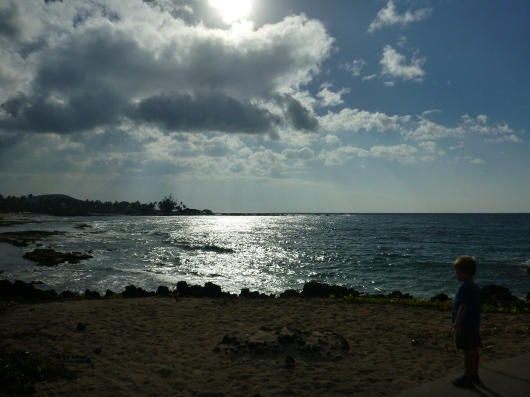 The view from shore straight out west at Kuki'o Beach.