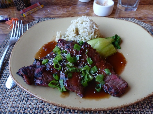 Teriyaki Beef at Huggo's. The dish hasn't changed since debuting at their opening in 1969!