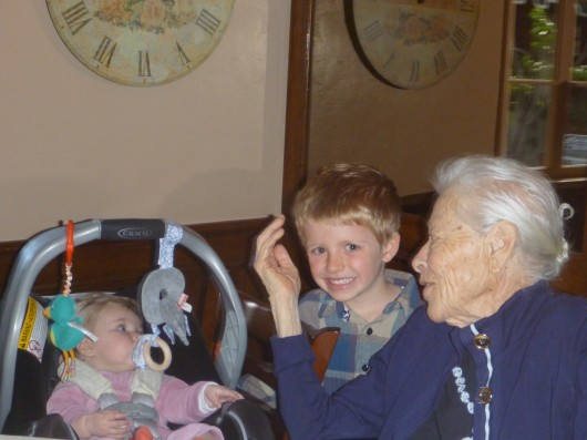 T, baby Cousin Ella, and Great-Grandma Hazel