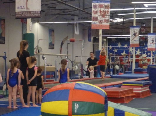 T jumped down the trampoline mat during his first class at AGA. He loved it!