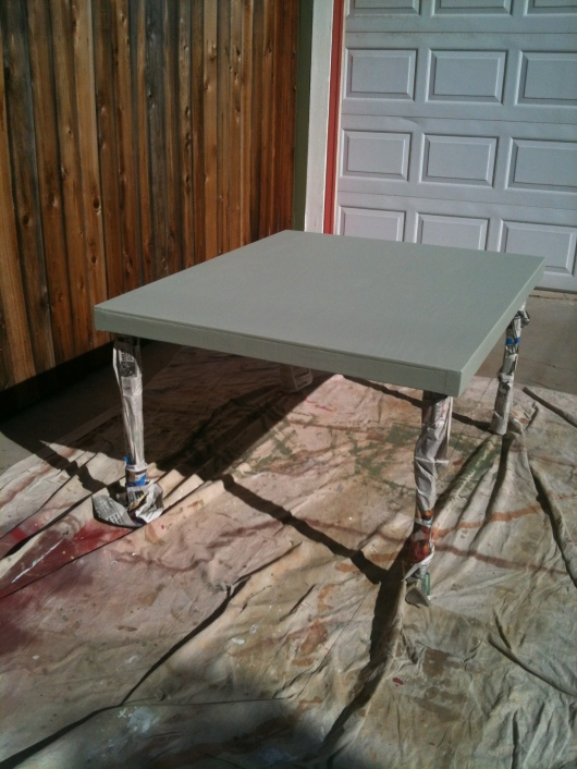 New train table C built for T's new Lionel train set, freshly painted!