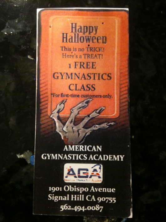 A free trial class ticket we received Halloween 2011. Turns out anyone can get a free trial at AGA; all you have to do is give them a call to schedule it!