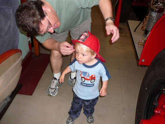 T in his free hat from his trip to the LAFD Harbor Museum in June 2009.