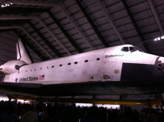 Space Shuttle Endeavour on display at the Samuel Oschin Pavilion at the California ScienCenter.