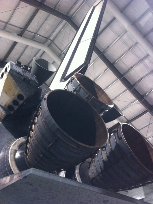 The engines of Space Shuttle Endeavour. We estimated them at around 10 to 15 feet in diameter. In other words, this is a large vessel.