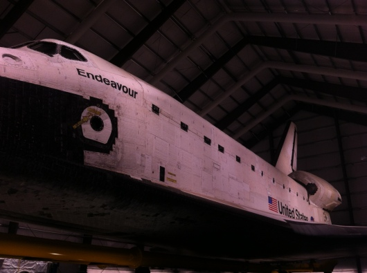 Another view of Space Shuttle Endeavour at the Samuel Oschin Pavilion at the California ScienCenter.