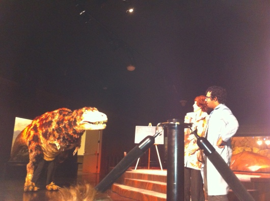 The dinosaur puppet show at the Natural History Museum of Los Angeles County. We got to see T-Rex this time.