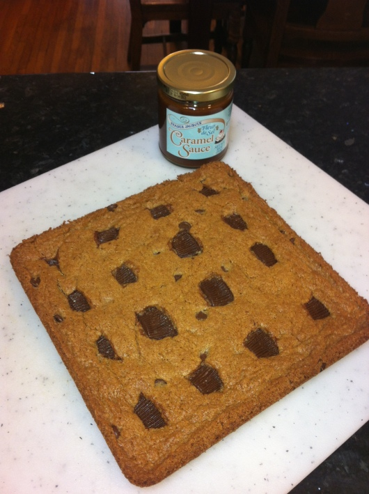 My TJs Blondies with Dark Chocolate Peanut Butter Cups BEFORE adding the Sea Salted Caramel Drizzle.