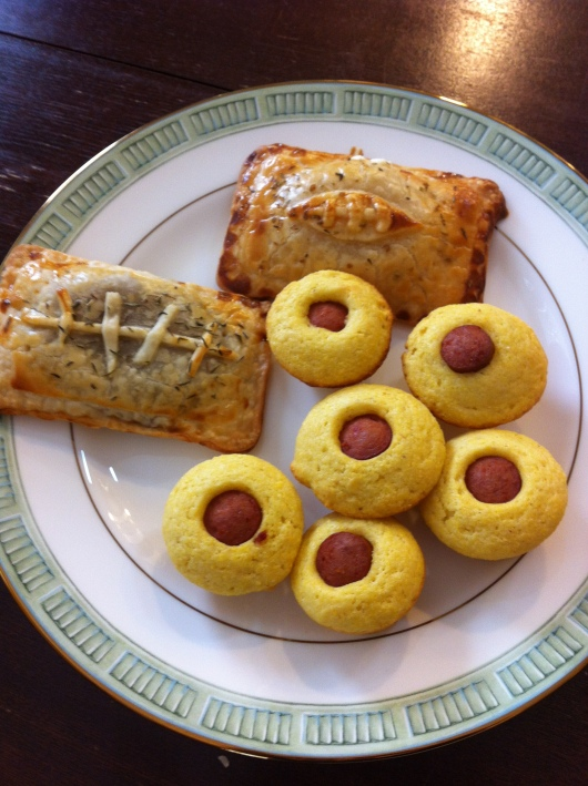 Football Pocket Pies and Mini-Muffin Corn Dogs.