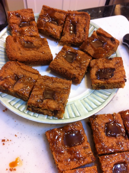 Trader Joe's Blondies with Dark Chocolate Peanut Butter Cups and Sea Salted Caramel Drizzle.
