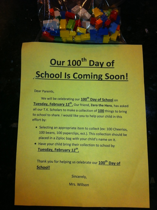 T's 100th Day of School assignment: Complete.