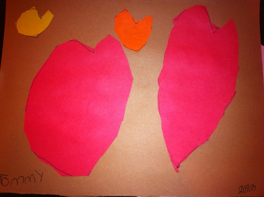 T's finished heart homework. I was quite impressed. These are all free-hand and cut 100 percent by T!