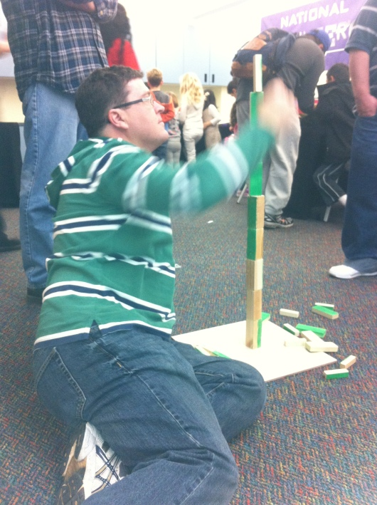 C builds blocks at the Discovery Science Center's Engineers Week activities and events for kids and their families.