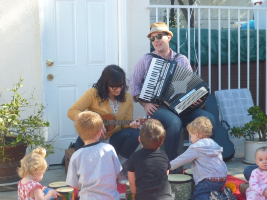 Kids formed a drum line during one of Andrew & Polly's birthday shows.