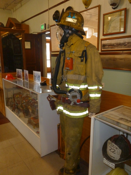 Cool old fire suit on display at LAFD Harbor Museum.