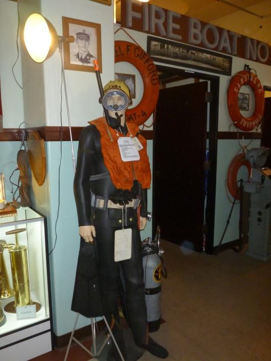 An aquatic-focused display of gear at the LAFD Harbor Museum.