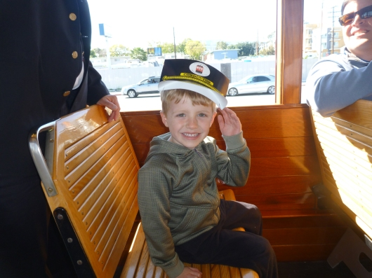 T in his second free hat of the weekend on the Red Car in San Pedro, CA.