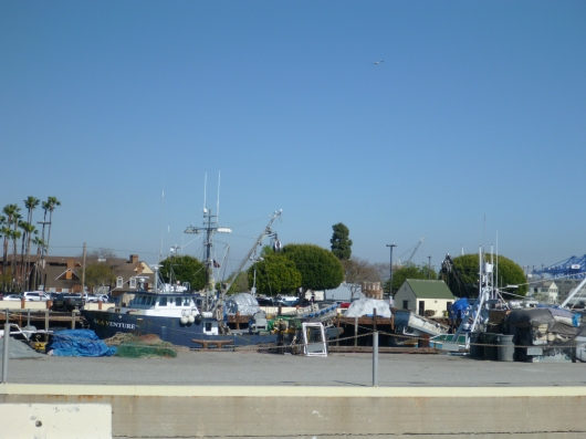 A typical harbor view along the Red Car Railway in San Pedro, CA.