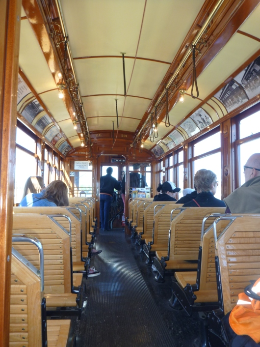 Inside of the Red Car trolley that now runs along a restored railway line on the San Pedro, CA, waterfront.
