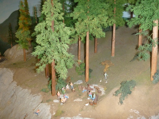 A close-up of the camping scene pictured above in the trestles-wilderness layout at AGHR.